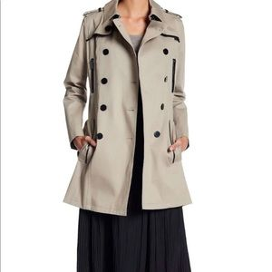 THE KOOPLES British Trench Coat With Leather Trim